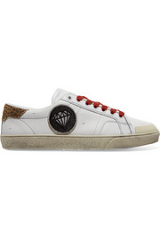 Court Classic suede-trimmed appliquéd distressed leather sneakers