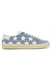 Court Classic leather-appliquéd denim sneakers