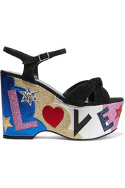Saint Laurent Candy embellished suede and leather platform sandals