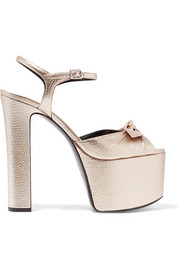 Saint Laurent Bow-embellished metallic textured-leather platform sandals