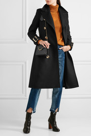 Burberry Leather-trimmed double-breasted wool-blend coat