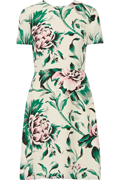 Burberry - Printed Silk-georgette Dress - Green