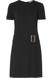 Buckled stretch-crepe mini dress