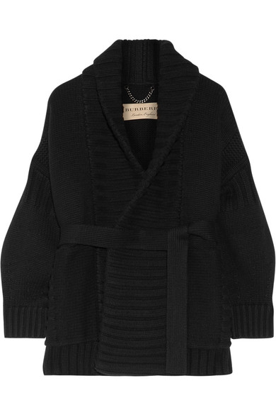 Burberry - Ribbed Wool And Cashmere-blend Cardigan - Black