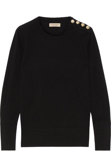 Burberry - Button-detailed Cashmere Sweater - Black