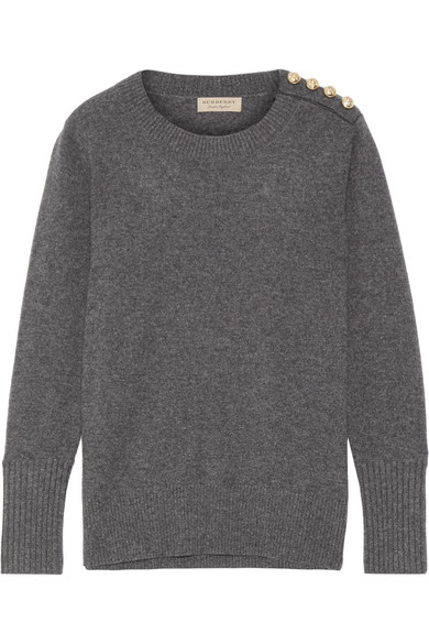 Burberry - Button-detailed Cashmere Sweater - Gray