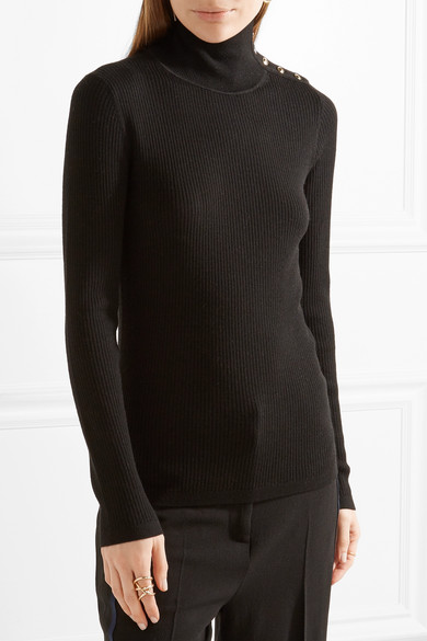 Burberry | Button-detailed ribbed wool turtleneck sweater | NET-A ...