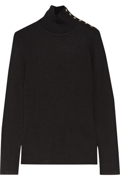 Burberry - Button-detailed Ribbed Wool Turtleneck Sweater - Black