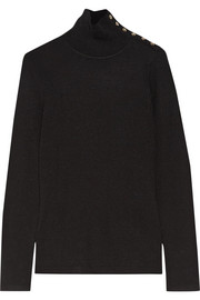 Burberry Button-detailed ribbed wool turtleneck sweater
