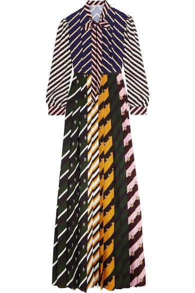 Mary Katrantzou - Duritz Pussy-bow Printed Crepe De Chine Maxi Dress - Black