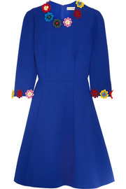 Cooper floral-appliquéd wool-crepe dress