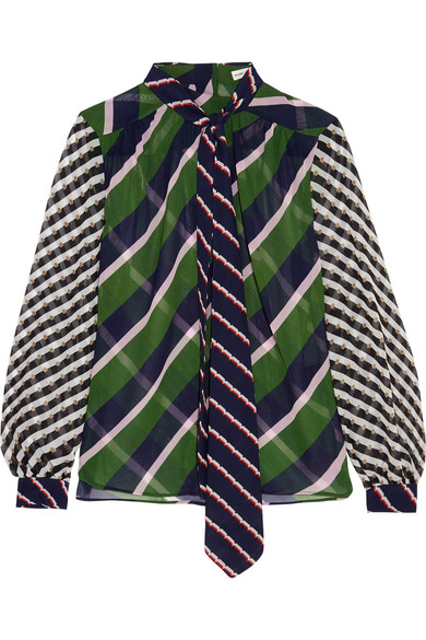 Mary Katrantzou - Veddar Pussy-bow Printed Silk-georgette Blouse - Green