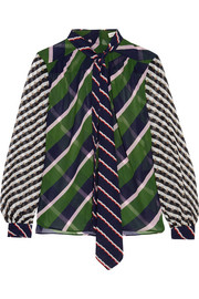 Mary Katrantzou Veddar pussy-bow printed silk-georgette blouse