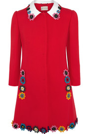 Mary Katrantzou Mason floral-appliquéd wool-crepe coat