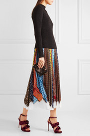 Pleated printed crepe de chine skirt