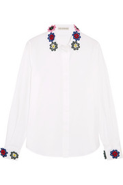 Mary Katrantzou Shane floral-appliquéd cotton-blend shirt