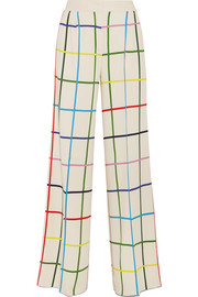 Donis checked stretch-crepe wide-leg pants