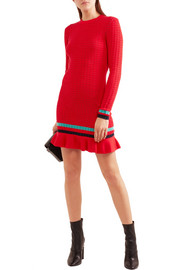Ribbed-knit stretch-cotton mini dress