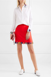 Clovis floral-appliquéd wool-crepe mini skirt
