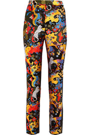 Mary Katrantzou Slick faille-trimmed jacquard skinny pants
