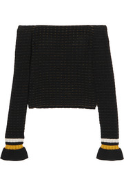 3.1 Phillip Lim Off-the-shoulder smocked cotton-blend sweater