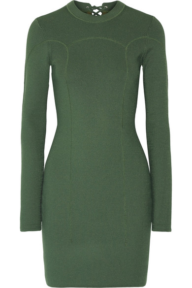 3.1 Phillip Lim - Lace-up Ribbed Stretch-knit Mini Dress - Army green