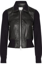 3.1 Phillip Lim Paneled ribbed stretch-wool and leather jacket