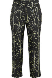 Cropped printed silk-twill straight-leg pants