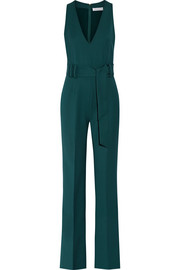Lennox belted stretch-wool jumpsuit