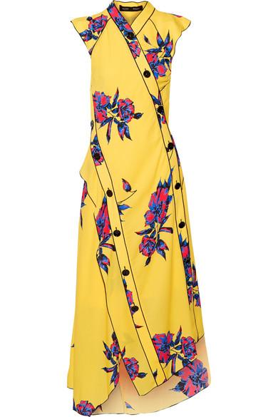 Proenza Schouler - Asymmetric Floral-print Silk-crepe Dress - Marigold