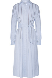Gabriela Hearst Chelsea embroidered pinstriped cotton dress