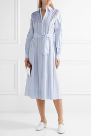 Chelsea embroidered pinstriped cotton dress