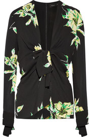 Knotted floral-print silk-crepe blouse
