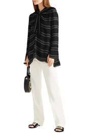 Proenza Schouler Knotted tie-front striped crepe top