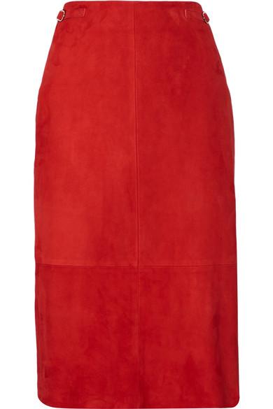 Gabriela Hearst - Hewitt Suede Midi Skirt - Red
