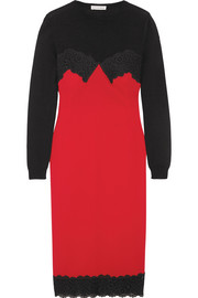 Debbie lace-trimmed merino wool and crepe dress