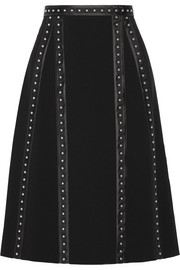 Steele studded satin-trimmed crepe skirt