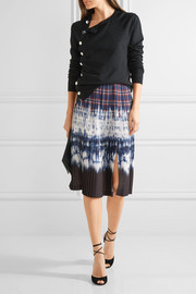 Lucile pleated printed satin skirt
