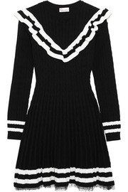 REDValentino Point d'esprit-trimmed ruffled cable-knit cotton mini dress