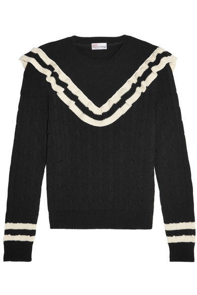 REDValentino - Ruffle-trimmed Striped Cotton Sweater - Black