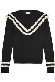 Ruffle-trimmed striped cotton sweater