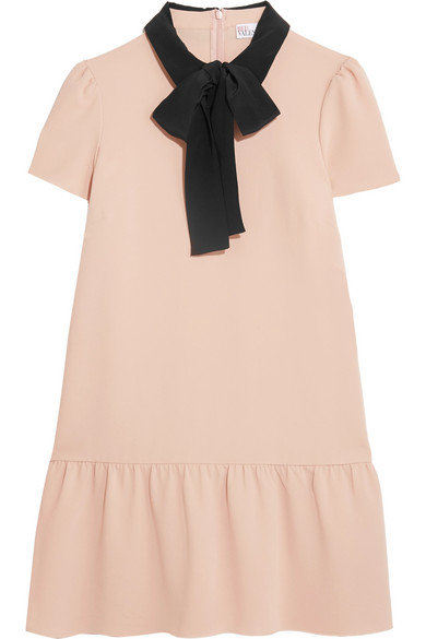 REDValentino - Pussy-bow Silk-trimmed Crepe De Chine Mini Dress - Pink