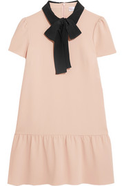 Pussy-bow silk-trimmed crepe de chine mini dress