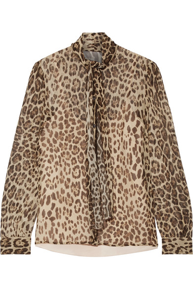 REDValentino - Pussy-bow Leopard-print Silk-crepon Blouse - Leopard print
