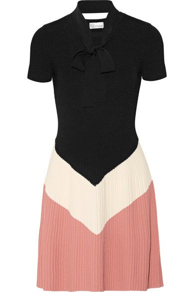 REDValentino - Pussy-bow Color-block Ribbed-knit Mini Dress - Black