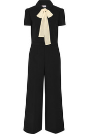 Pussy-bow chiffon-trimmed cady jumpsuit