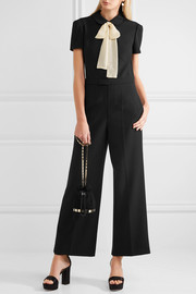 REDValentino Pussy-bow chiffon-trimmed cady jumpsuit