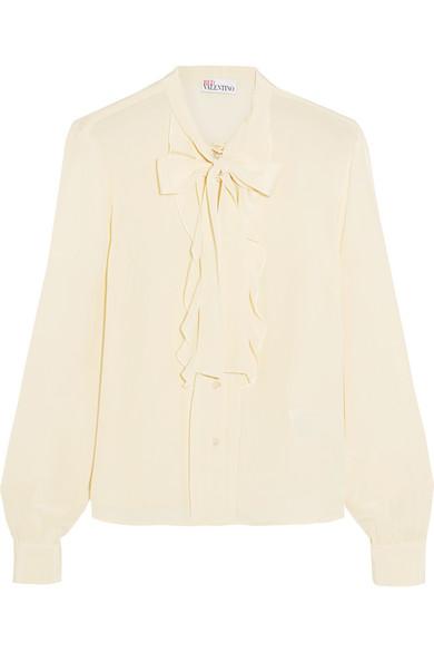 REDValentino - Pussy-bow Ruffled Silk Crepe De Chine Blouse - Cream