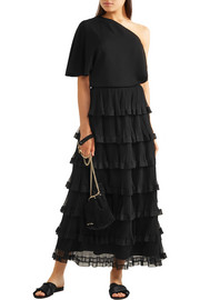 Tiered georgette and plissé-tulle maxi skirt