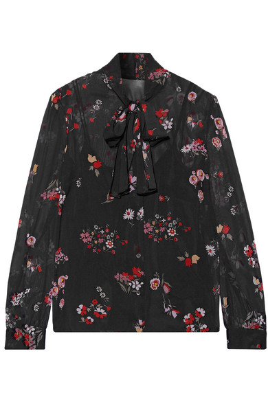 REDValentino - Pussy-bow Printed Stretch-silk Chiffon Blouse - Black